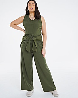 Soft Touch Wide Leg Rib Trouser