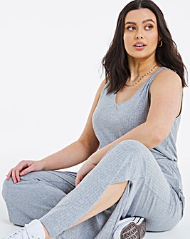 Soft Touch Wide Leg Rib Jumpsuit