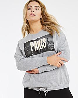 Paris Graphic Tie Hem Sweatshirt