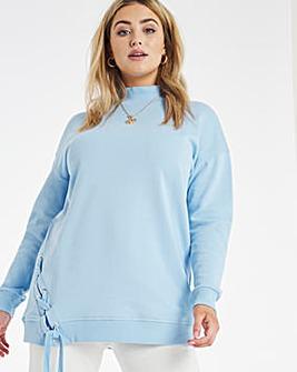 Criss Cross Hem Longline Sweatshirt
