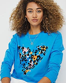 Blue Heart Flocked Sweatshirt