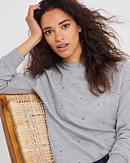 Grey Marl Studded Sweatshirt