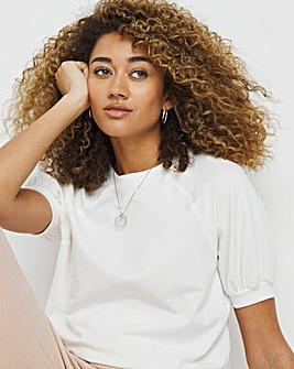 White Peached Short Sleeve Sweatshirt