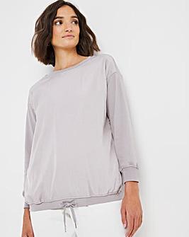 Silver Woven Front Sweatshirt