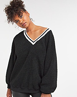 Teddy Fur Cosy Neck Top with Rib Details