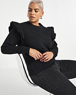 Black Frill Detail Sweatshirt