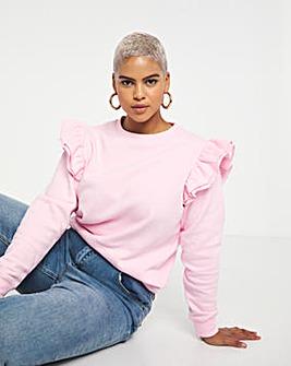 Pink Frill Detail Sweatshirt