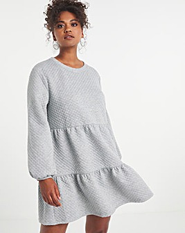 Grey Marl Quilted Tiered Sweat Dress