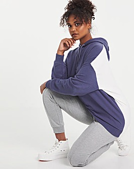 Blue & Ecru Oversized Contrast Hoodie