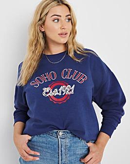 Soho Club Slogan Raised Print Sweatshirt