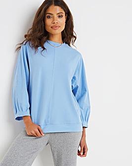 Blue Pleat Sleeve Sweatshirt
