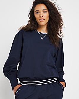 Puff Sleeve Lurex Trim Sweatshirt