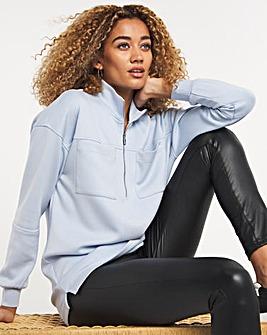 Blue Pocket Half Zip Sweatshirt