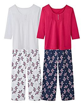 Pretty Secrets Navy/Pink 2 Pack 3/4 Slv Pyjama Set