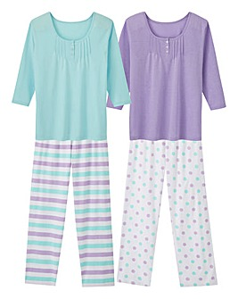 Pretty Secrets 2 Pack 3/4 Slv Pyjama Set