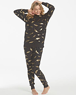 Gold Foil Feather Print Twosie