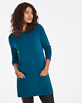 Slash Neck Tunic With Pockets