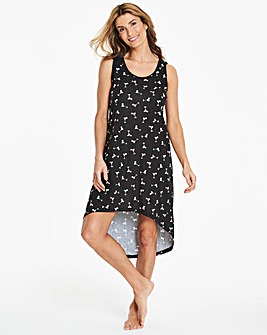 Pretty Secrets Black Dipped Hem Sleep Vest