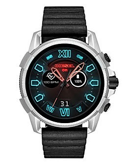 Diesel On Men's Black Leather Strap Smartwatch