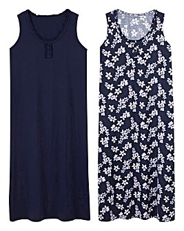 Pretty Secrets 2Pack Navy/Purple Maxi Nighties L48in