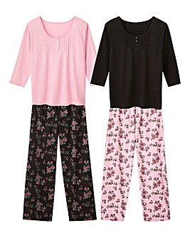 Pretty Secrets 2Pack Pink/Black PJ Set