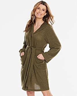 Pretty Secrets Khaki Knitted Hooded Gown