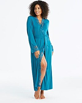 Pretty Secrets Teal Ella Lace Robe 50in