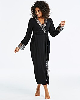 Ella Lace Black/Silver Long Robe L50in