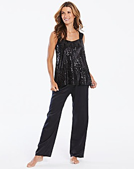 Joanna Hope Sequin Satin Cami Pyjama Set