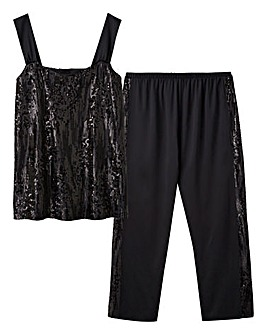 Joanna Hope Sequined Satin Pyjama Set
