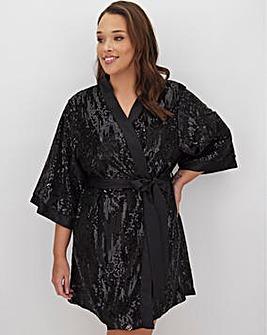 Joanna Hope Sequined Satin Kimono