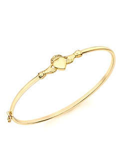 9Ct Gold Claddagh Bangle