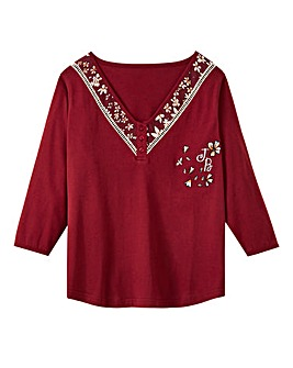 Joe Browns 3/4 Sleeve Embroidered Top