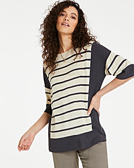 Linen Stripe Boxy Top