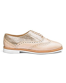 Heavenly Soles Leather Brogue Lace Up Shoes Wide E Fit