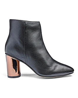Heavenly Soles Metallic Heel Leather Ankle Boots Wide E Fit