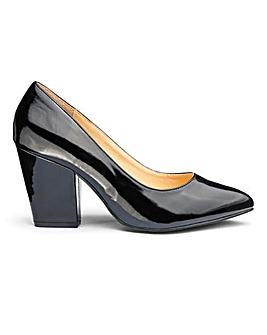 Pointed Court Shoes With Block Heel Wide E Fit