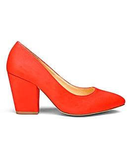 Pointed Court Shoes With Block Heel Extra Wide EEE Fit
