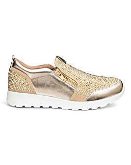 Heavenly Soles Slip On Leisure Shoes With Diamante Detail Wide E Fit