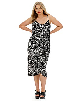 Oasis Strappy Zebra Print Cami Wrap Dress