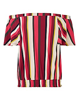 Oasis Stripe Shirred Hem Bardot Top