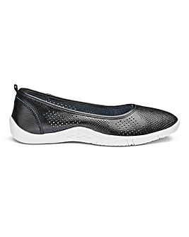 Leather Ballerina Shoes With Punch Detail Wide E Fit