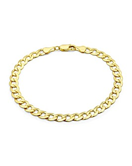9Ct Gold Flat Diamond Cut Curb Bracelet