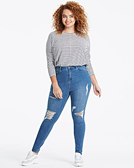 Mid Blue Chloe High Waist Ripped Skinny Jeans Regular Length