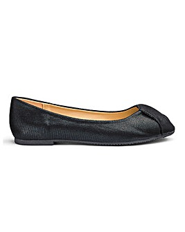 Peep Toe Slip On Ballerina Shoes Extra Wide EEE Fit