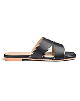 Leather Croc Print Mule Sandals E Fit