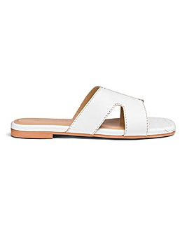 Leather Croc Print Mule Sandals E Fit