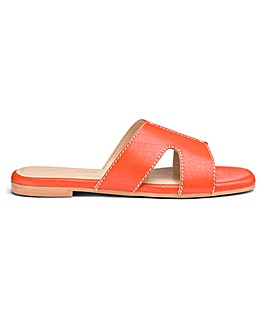 Leather Croc Print Mule Sandals EEE Fit