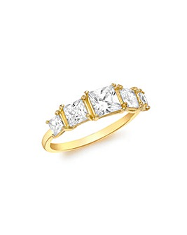 9Ct Gold Square Graduated Ring