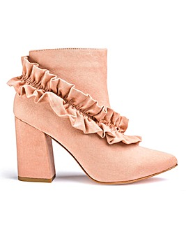 Heavenly Soles Ruffle Detail Ankle Boots Extra Wide EEE Fit